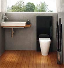 Produktbild: Monolith Sanitärmodul f. Stand-WC 101cm Glas schwarz / Aluminium